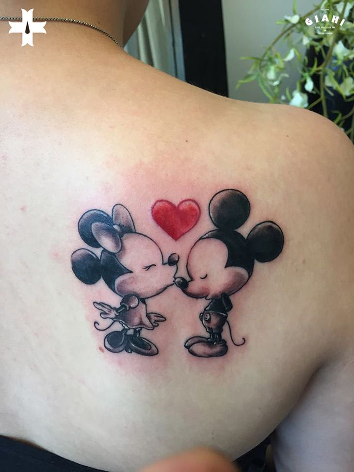 Mickey and Minnie Kiss http://tattooideas247.com/mickey-and-minnie/