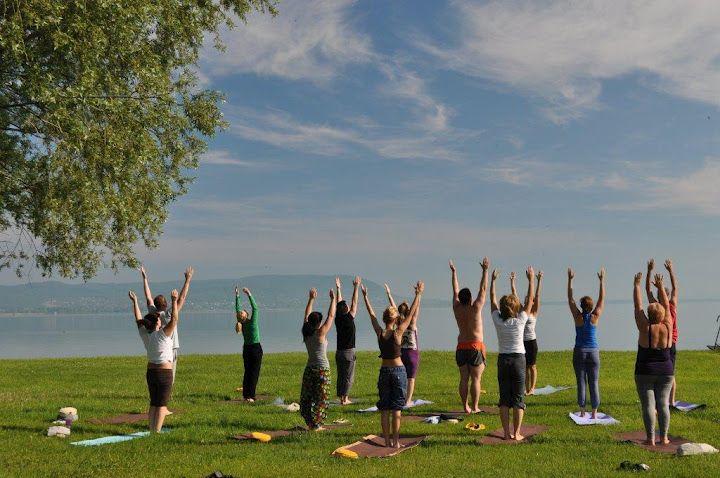 Morning yoga class on the beach.