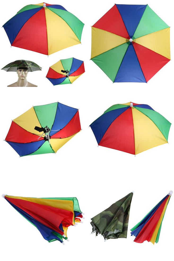 [Visit to Buy] Portable Usefull Fishing Umbrella Hat Sun Shade Waterproof Outdoor Camping Hiking Festivals Foldable Brolly Two colors 55cm  #Advertisement