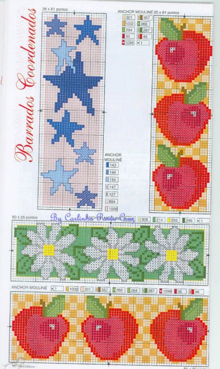 Gallery_ru / Фото #65 BORDURY: KIM-3 {cross stitch borders - apples, stars & daisys}