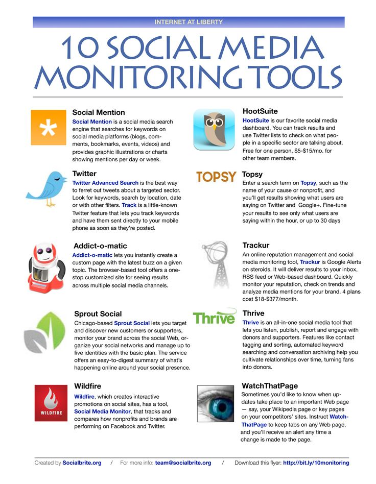 10 Social Media Monitoring Tools #SocialMedia #infographic
