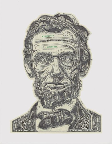 "Lincoln. Prototype portrait for ""Dead Presidents"" project  (see proposals) . Poster reproduction available  (see Shop)."