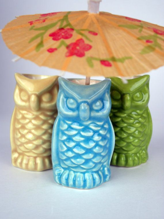 Vintage Ceramic Owl Toothpick Holder, Yellow, Green Or Turquoise