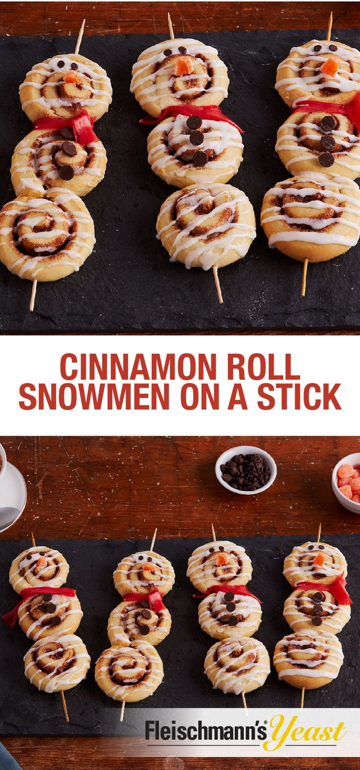 Snowed in for the afternoon? This recipe for Cinnamon Roll Snowmen on a Stick are a perfect snow day activity for kids. They'll love to decorate them with their favorite treats!