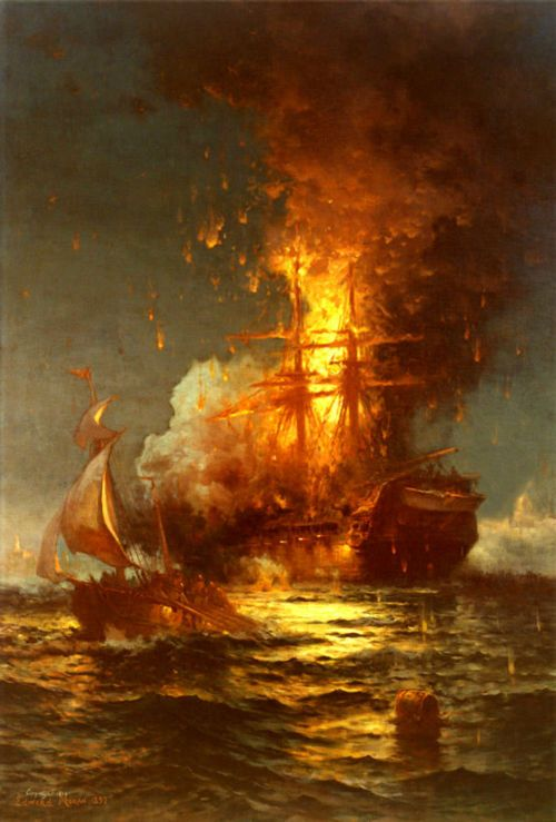 Burning of the Philadelphia at Tripoli in the Fight Against the Barbary Pirates by Edward Moran (U.S. Naval Academy Museum)  |   16th February, 1804, the U.S. frigate Philadelphia was burned in Tripoli Harbor.