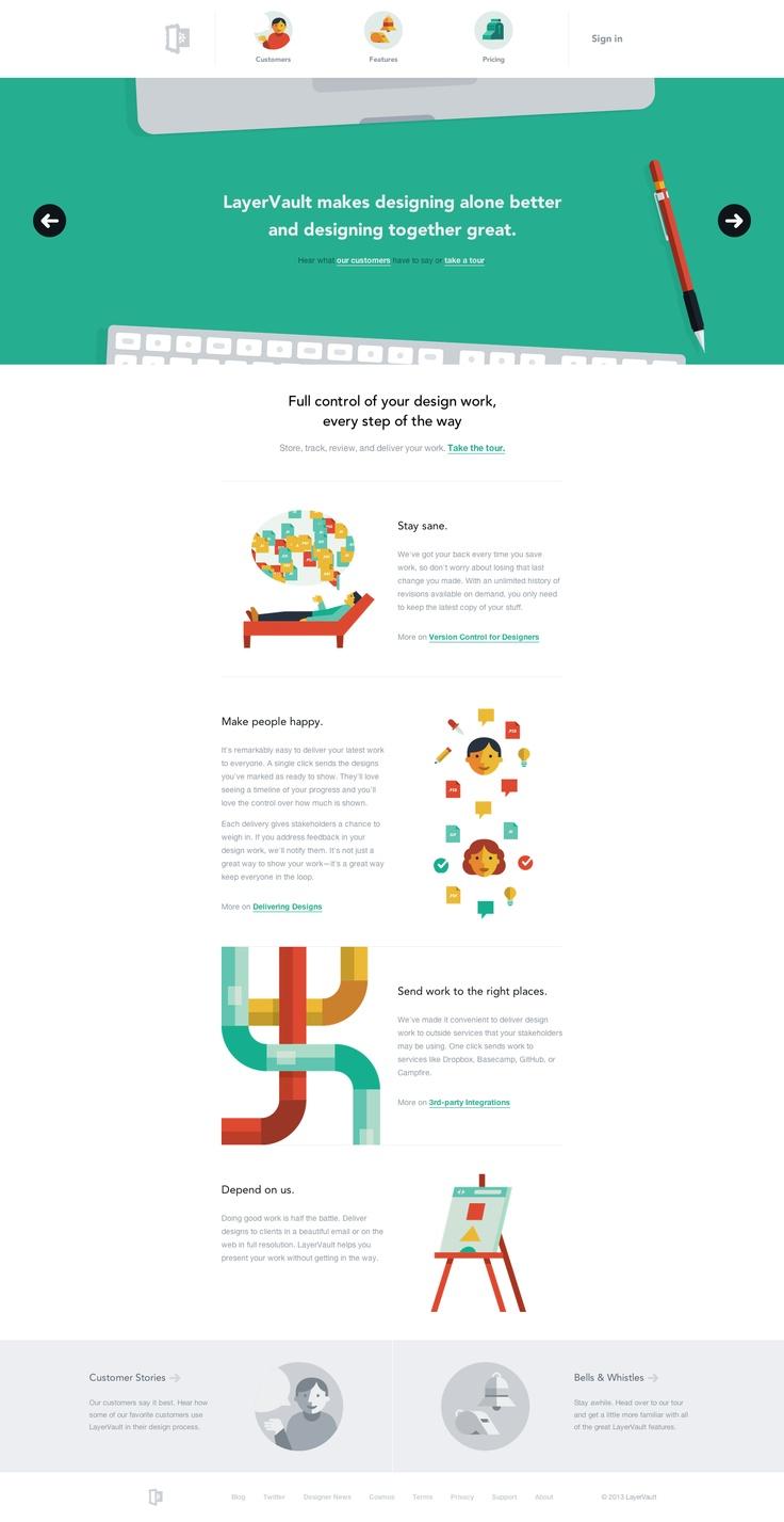 Unique Web Design, LayerVault via @metavalo #WebDesign #Design #Flat