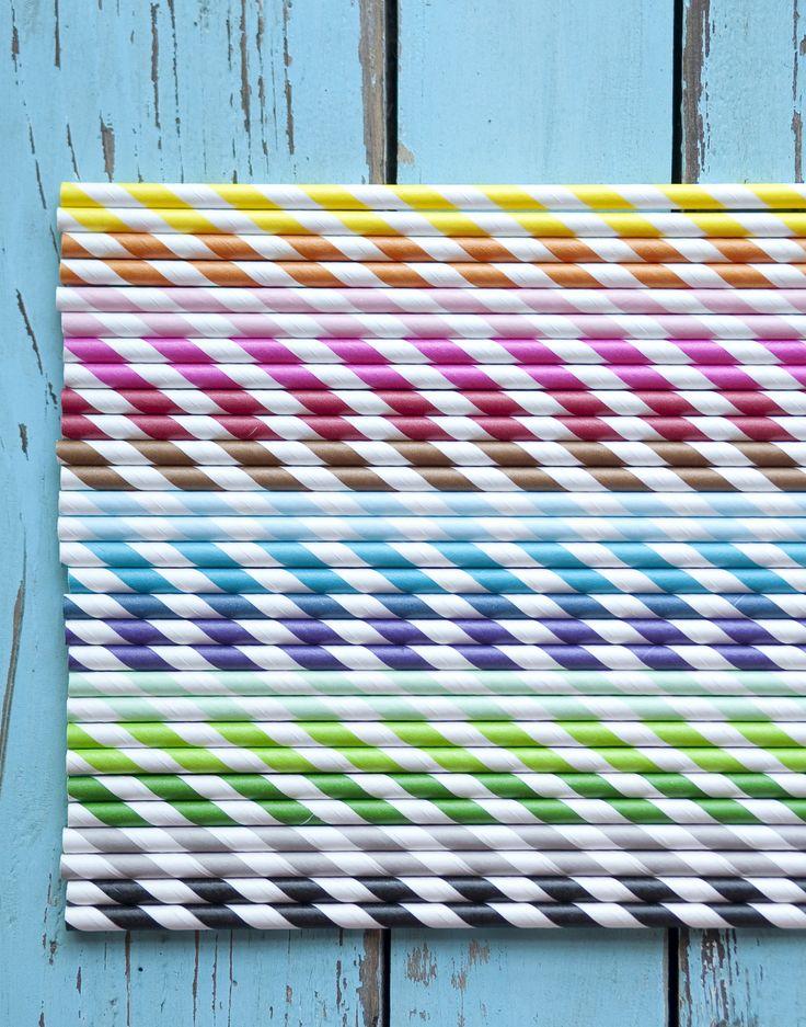 Vintage papír szívószál 15-féle színben (50 db)