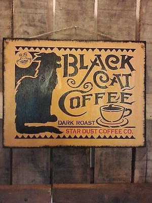 Primitive Black Cat Coffee wooden sign | For the Home ...