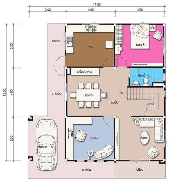 House Design Plan 11x11m With 5 Bedrooms Home Design With Plansearch Home Design Plans Architectural House Plans Modern Floor Plans