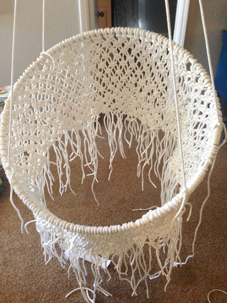 Diy hanging macram chair macrame macrame chairs and chairs for Macrame hanging chair