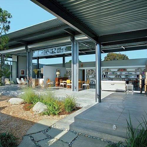 glass garage doors/walls.