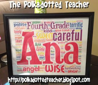 This teacher made a name frame for each child and framed them as an end of the year gift. How amazing!Words Clouds, Years Gift, Years Ideas, Gift Ideas, Names, Polka Dots Teachers, Goodbye Class, Word Clouds, Student Gifts