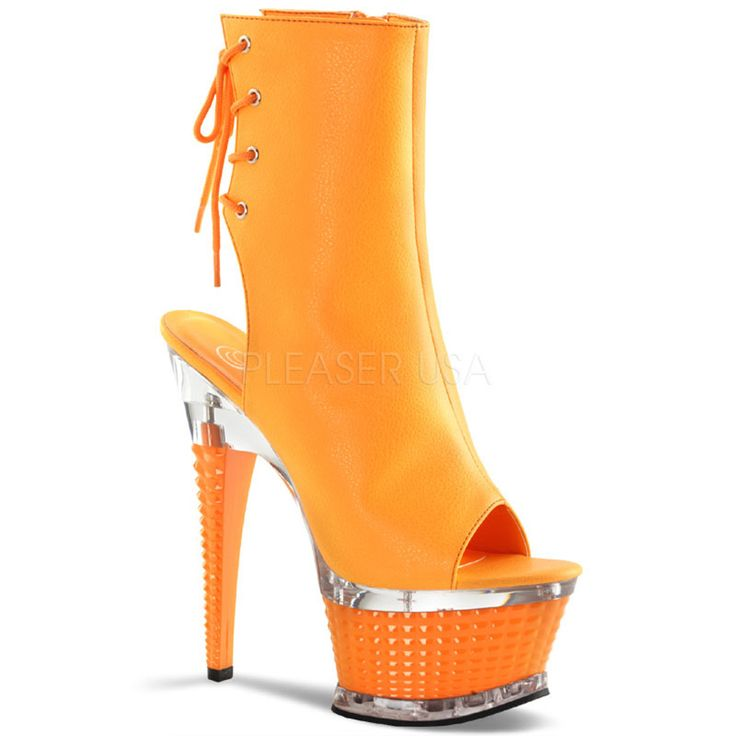 PLEASER ILLUSION-1018UV Neon Orange Pu-Orange Ankle Boots
