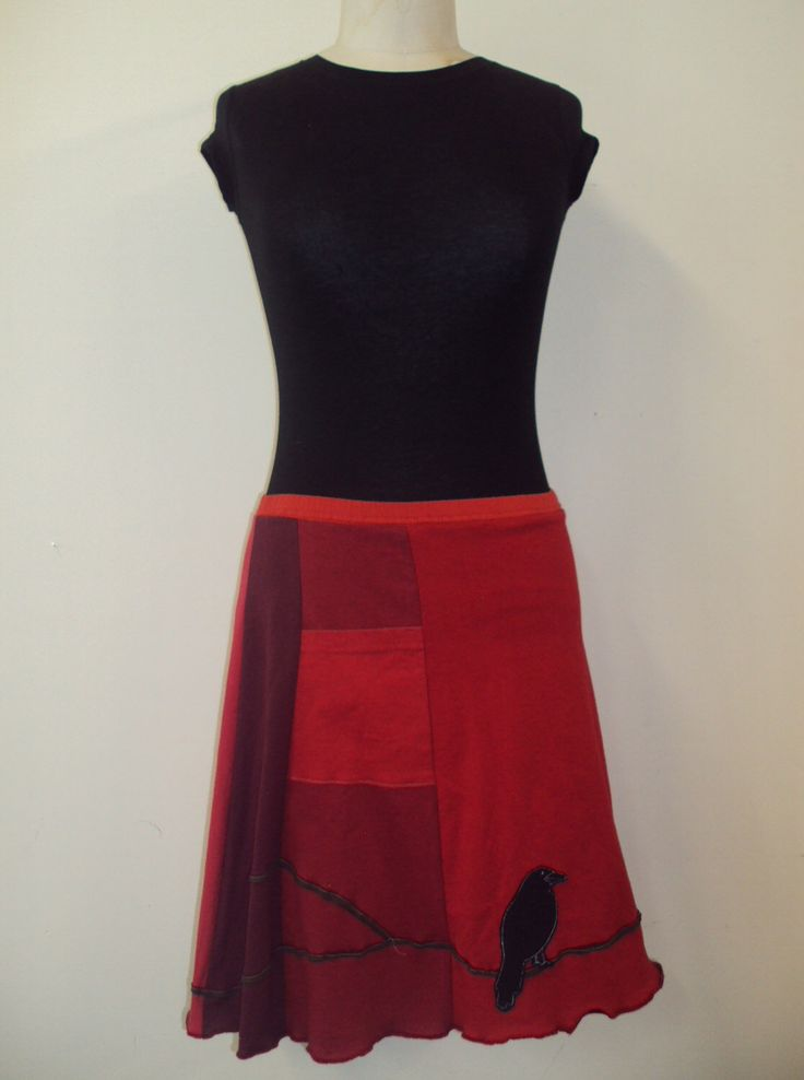 T-Skirt Upcycled, recycled, appliqué red t-shirt skirt with a branch and crow by sardineclothing on Etsy https://www.etsy.com/listing/104060045/t-skirt-upcycled-recycled-applique-red-t