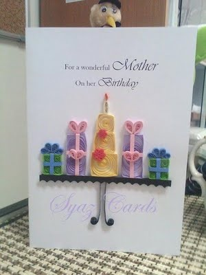 Birthday card - gifts - quilling