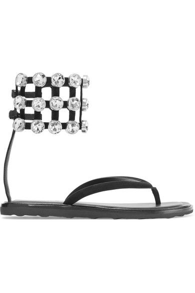 Alexander Wang - Aubrey Crystal-embellished Suede Sandals - Black
