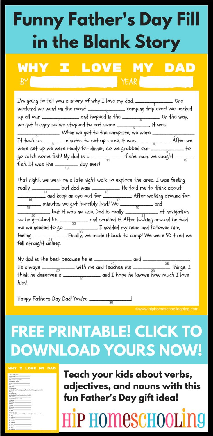 homemade fathers day gifts: Grab your FREE PRINTABLE funny, fill-in-the-blank story he'll love!  Fathers Day | Fathers day gifts from kids | fathers day gifts | fathers day crafts for kids | fathers day ideas | unique fathers day gifts | unique fathers day gifts from kids | unique fathers day ideas | unique fathers day diy | unique fathers day | homemade fathers day gifts | homemade fathers day gifts from kids | homemade fathers day cards | homemade fathers day | homemade fathers day gift…