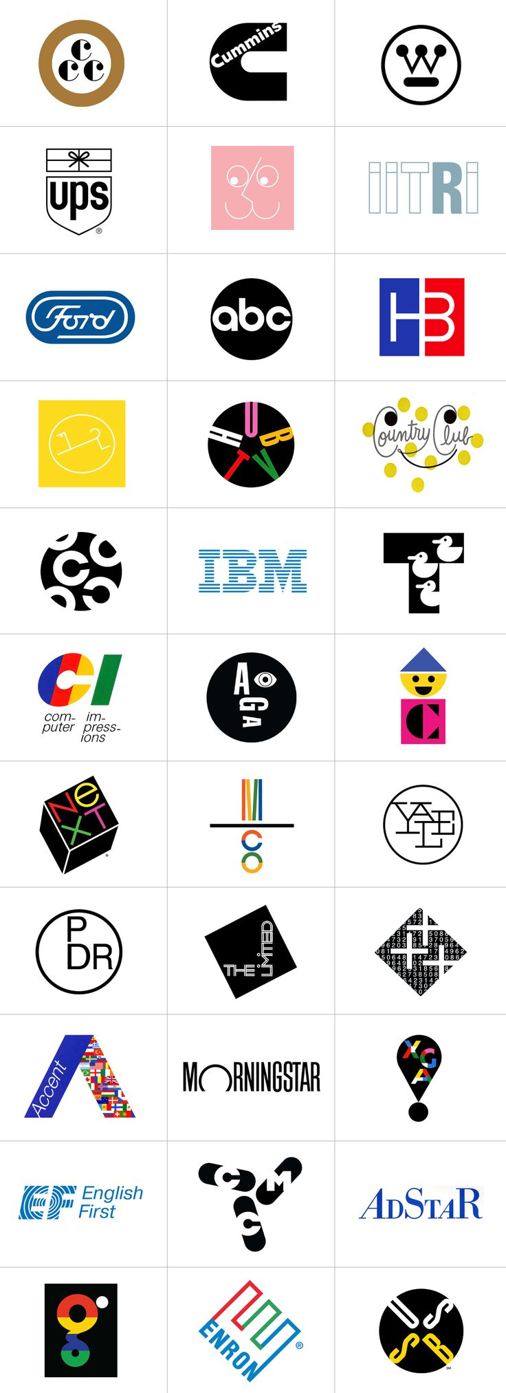 Some of the most famous Logos by Paul Rand: [Ups, Abc Television, Yale University, Enron, Westinghouse, Ibm, NeXT Apple, etc...etc..], (1938 / 1996) - Graphic Design by Paul Rand (b. 1914 - d. 1996, American) - [P. RAND part.2].