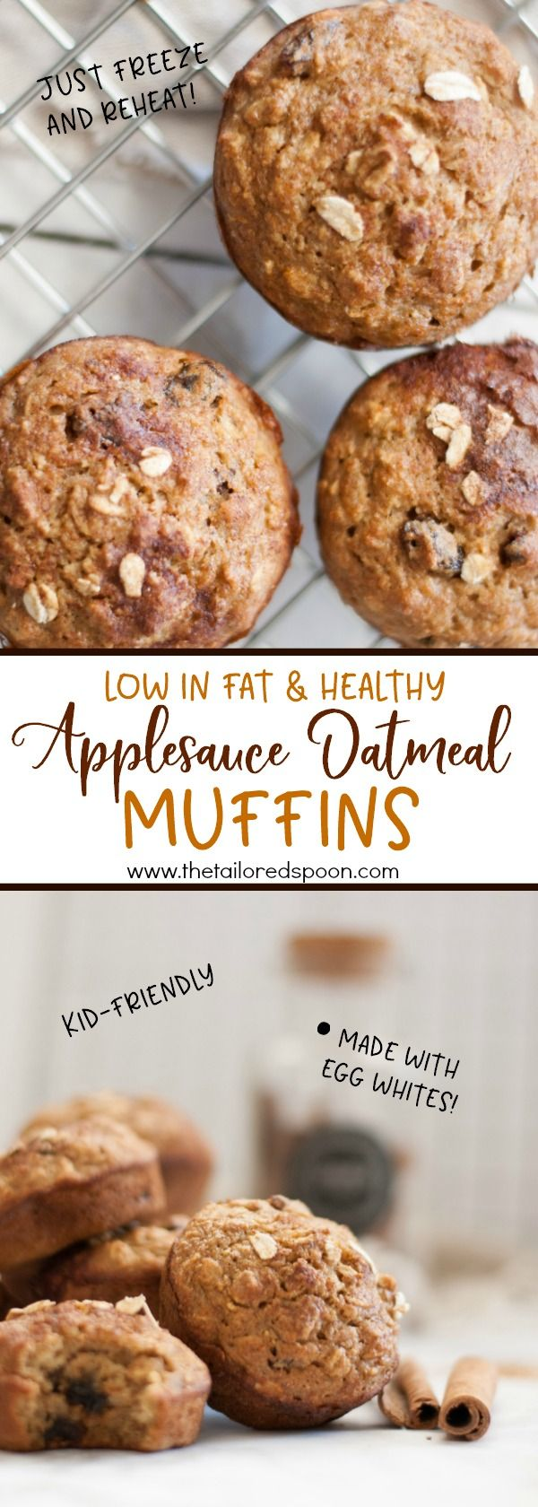 Applesauce Oatmeal Muffins, healthy and low in fat. Perfect for an on-the-go morning breakfast! #muffins #healthy #lowfat #oatmeal #applesauce