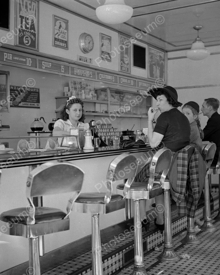 White Tower Diner Waitress At Counter 8x10 Reprint Of Old