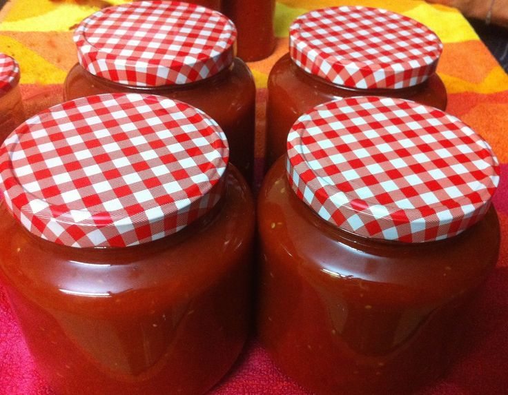 Another batch of fresh tomato sauce we made. Love these jars. We have a collection of them in different shapes and sizes with the same checkered lids!