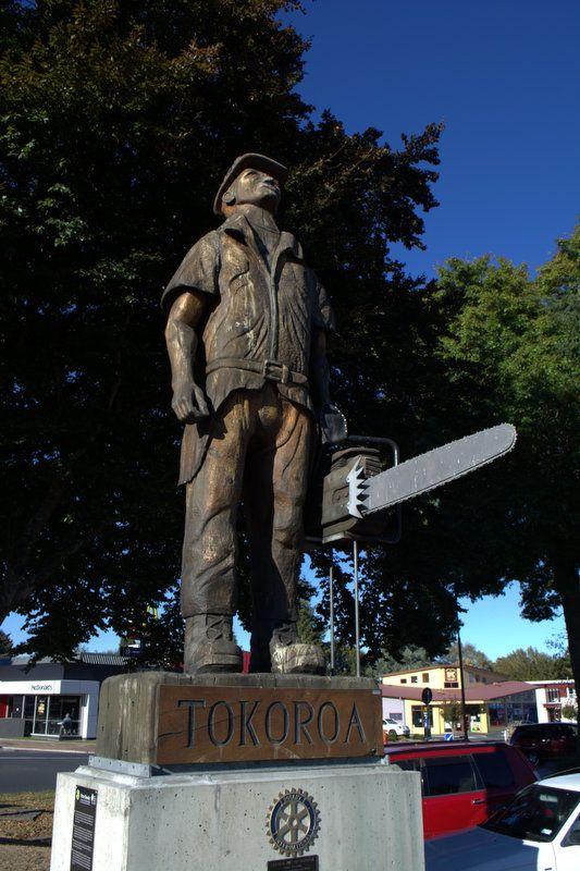 Tokoroa's giant lumberjack welcomes visitors to town.