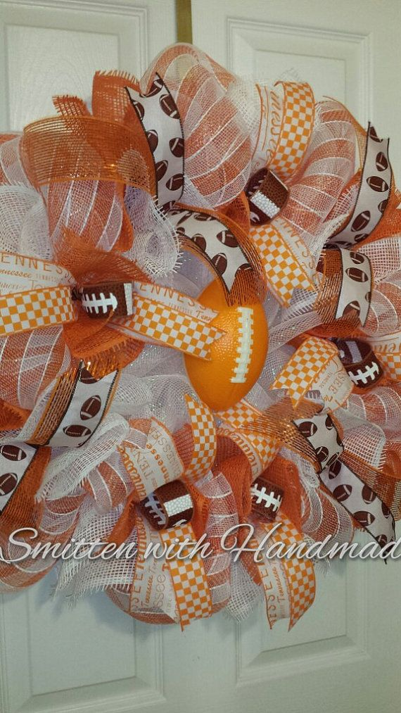 Check out this item in my Etsy shop https://www.etsy.com/listing/197840460/tn-vols-football-orange-and-white-wreath