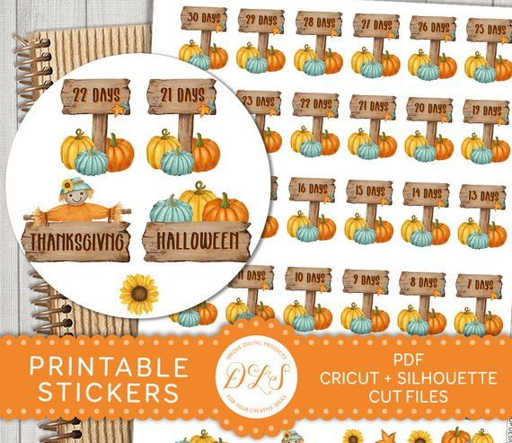 Printable Halloween Countdown Stickers Printable Thanksgiving Etsy In 2020 Fall Planner Stickers Halloween Printables Planner Stickers