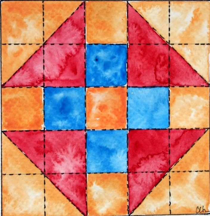 Quilt Patterns Using 5x5 Squares : 3 COLORS - 5X5 SQUARES - Watercolor quilt block Upcycled Fabrics Pinterest Watercolors ...