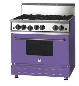 purple stove and oven
