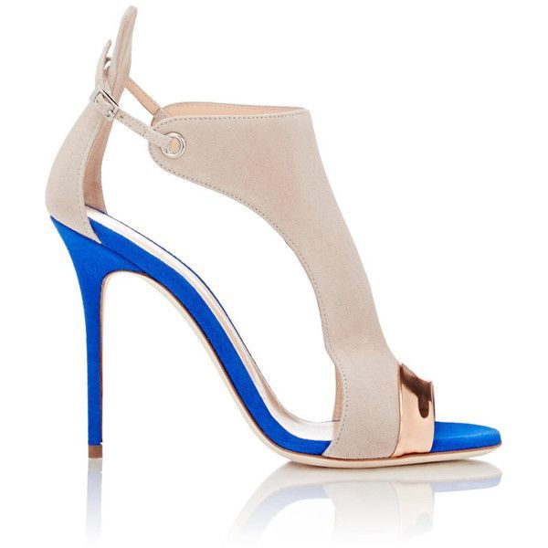 Giuseppe Zanotti Women's Specchio-Trimmed Cutout Sandals Siz (14,440 MXN) ❤ liked on Polyvore featuring shoes, sandals, heels, high heels, colorless, ankle tie sandals, clear shoes, clear sandals, beige sandals and clear high heel sanda