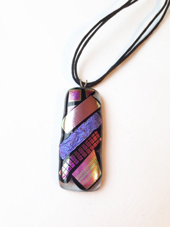 Purple & pink fused glass pendant-Dichroic by DelabudCreations