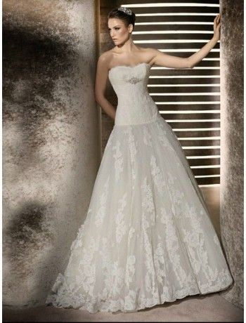 Lace Sweetheart Strapless Neckline A-Line Wedding Dress with Beaded Empire Trim from goodcheapweddingdress.com