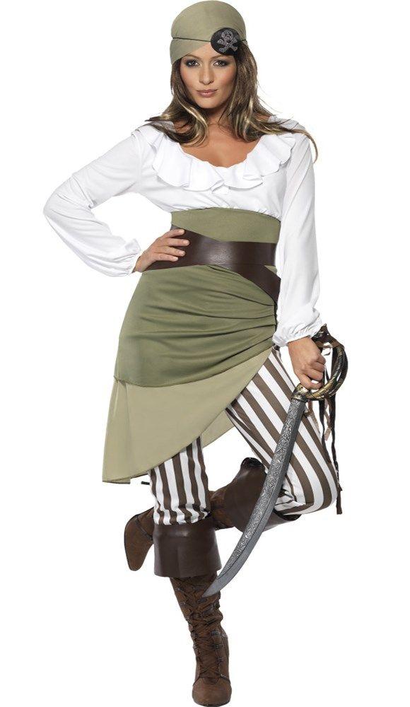#Piratenkostuum bestaande uit een top, taille rok, legging, riem, hoofddoek en laars stukken