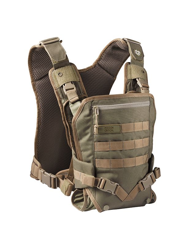The Mission Critical Baby Carrier is a front carry baby carrier.
