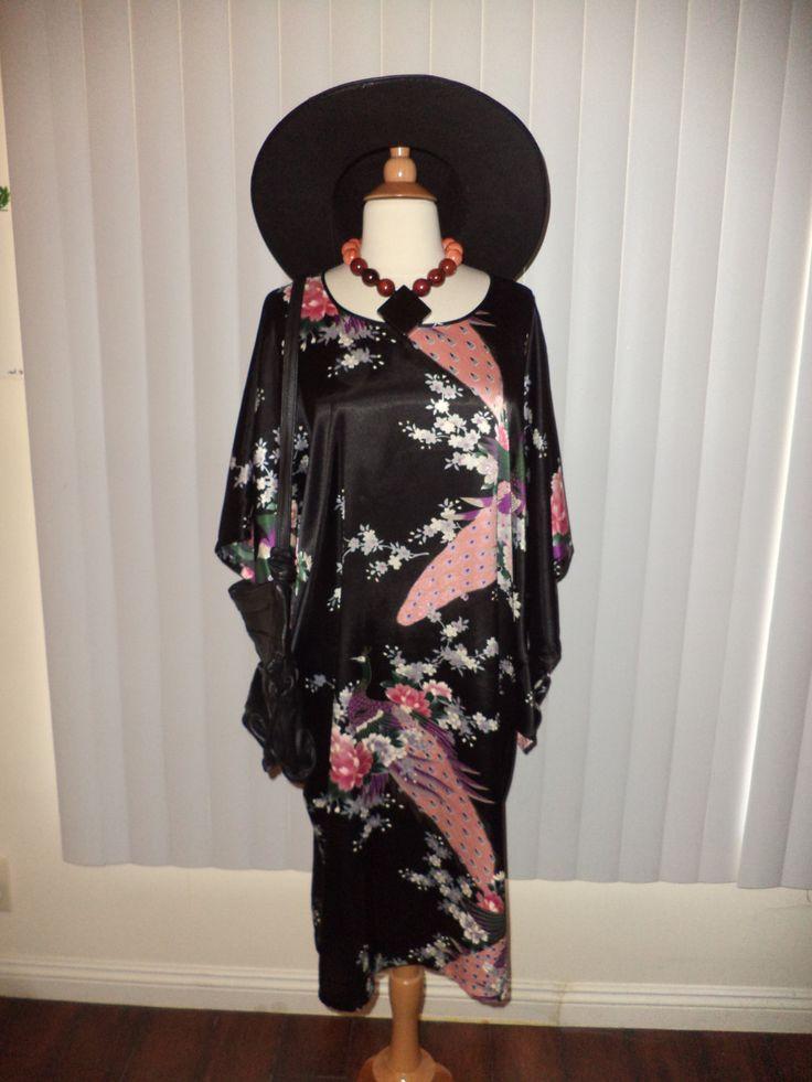 SOLD Vtg Boho Hippie Gypsy Witch Ethni Black Japanese Peacock Caftan Dress OS by casadelagitana on Etsy