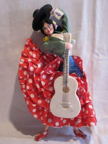 1950s LAYNA Spanish cloth doll Flamenco costume w guitar original LAYNA tag