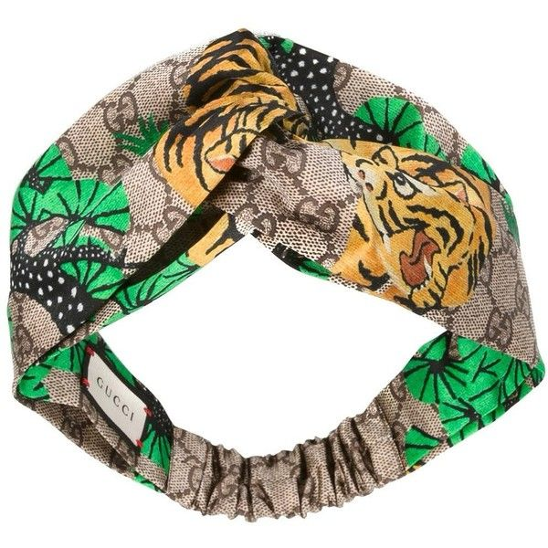 Gucci tiger print headband ($270) ❤ liked on Polyvore featuring accessories, hair accessories, head wrap scarf, hair scarves, head wrap headband, hair scarf and silk headband