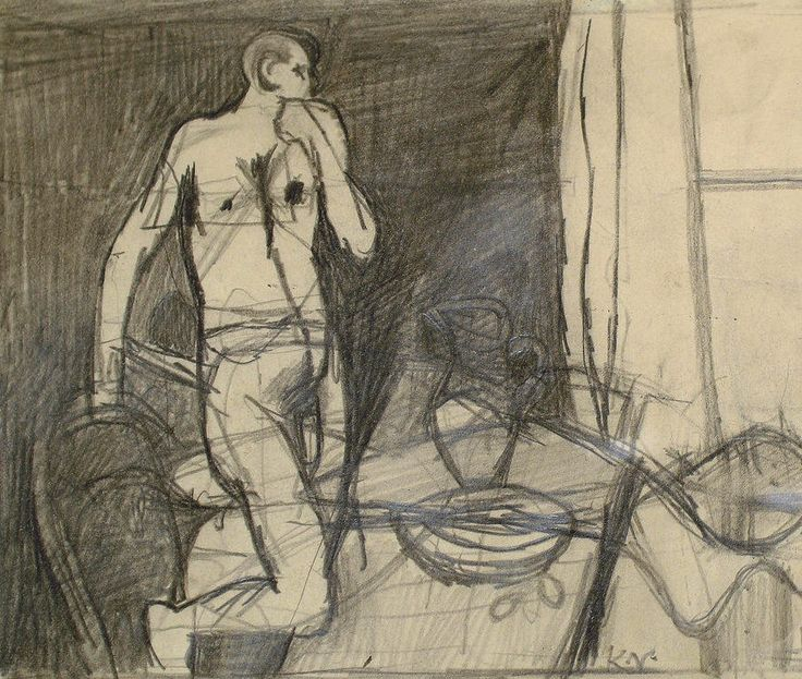 Keith Vaughan (English, 1912-1977), Study for Painting, 1950. Pencil, 5 x 6 in.