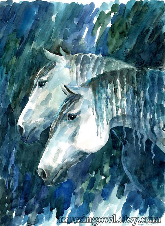 Year of the Horse  White Horses  8 x 10 giclee print by amazingowl, $20.00
