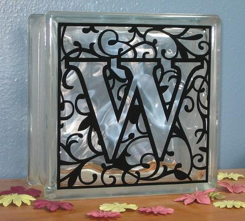 monogram glass block