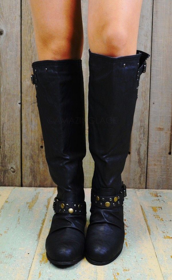 2013 Round Toe Studded Riding Boots, Black Leather Ankle Buckle Boots, Womens Studded Winter Boots
