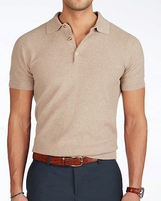 Beige short sleeve polo