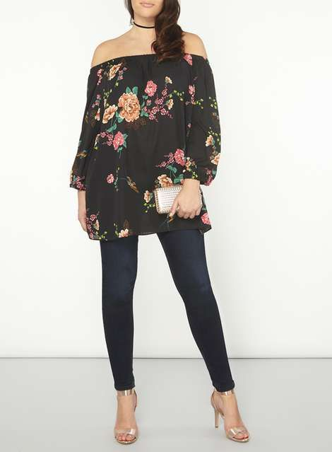 **DP Curve Black Floral Bardot Top - Plus Size Clothing - Clothing - Dorothy Perkins United States