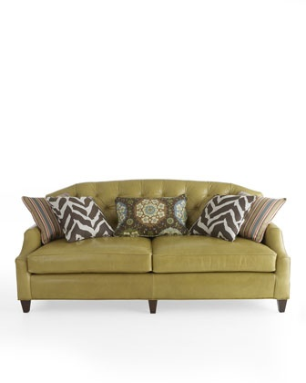 Moss Green Leather Tufted Sofa