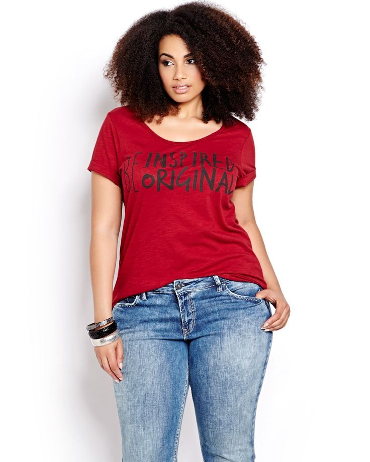 Trendy and casual chic screen print message tee elevates your jeans and t-shirt ensemble to a major fashion statement. Plus size, scoop neck, short sleeves, front screen print. 29 inch length.