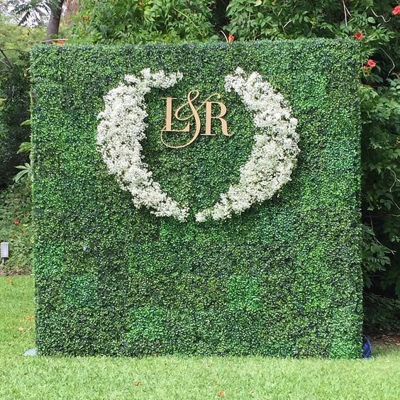 Green wall with Monogram