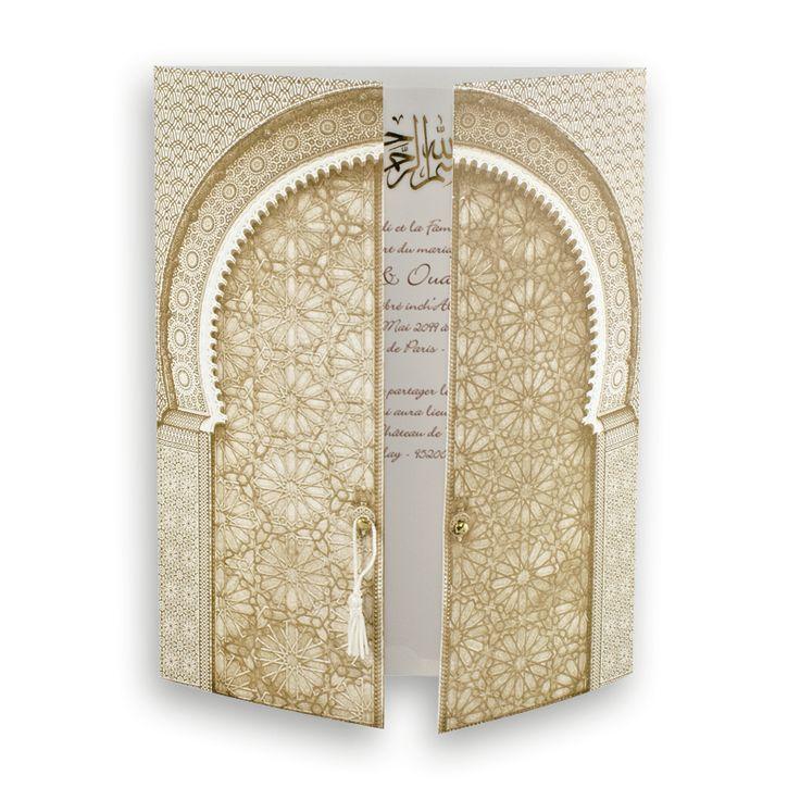 faire part mariage pour musulmans porte de lorient or camel j0025 - Invitation Mariage Oriental