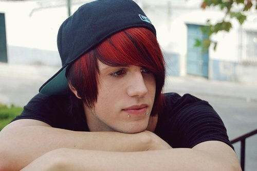 boy with dyed red hair - photo #2