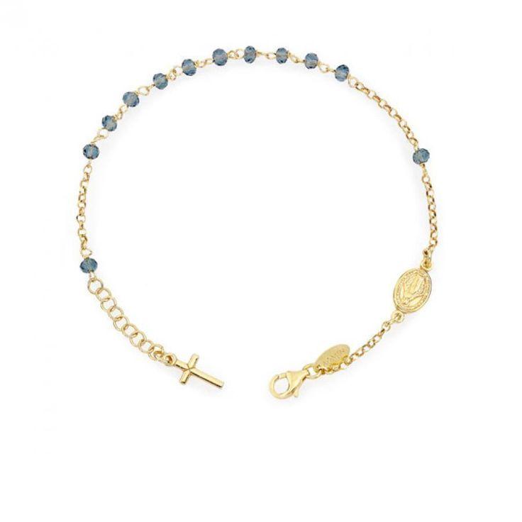 AMEN BRACCIALE ROSARIO classico ARGENTO dorato cristalli Blu BROGBL4